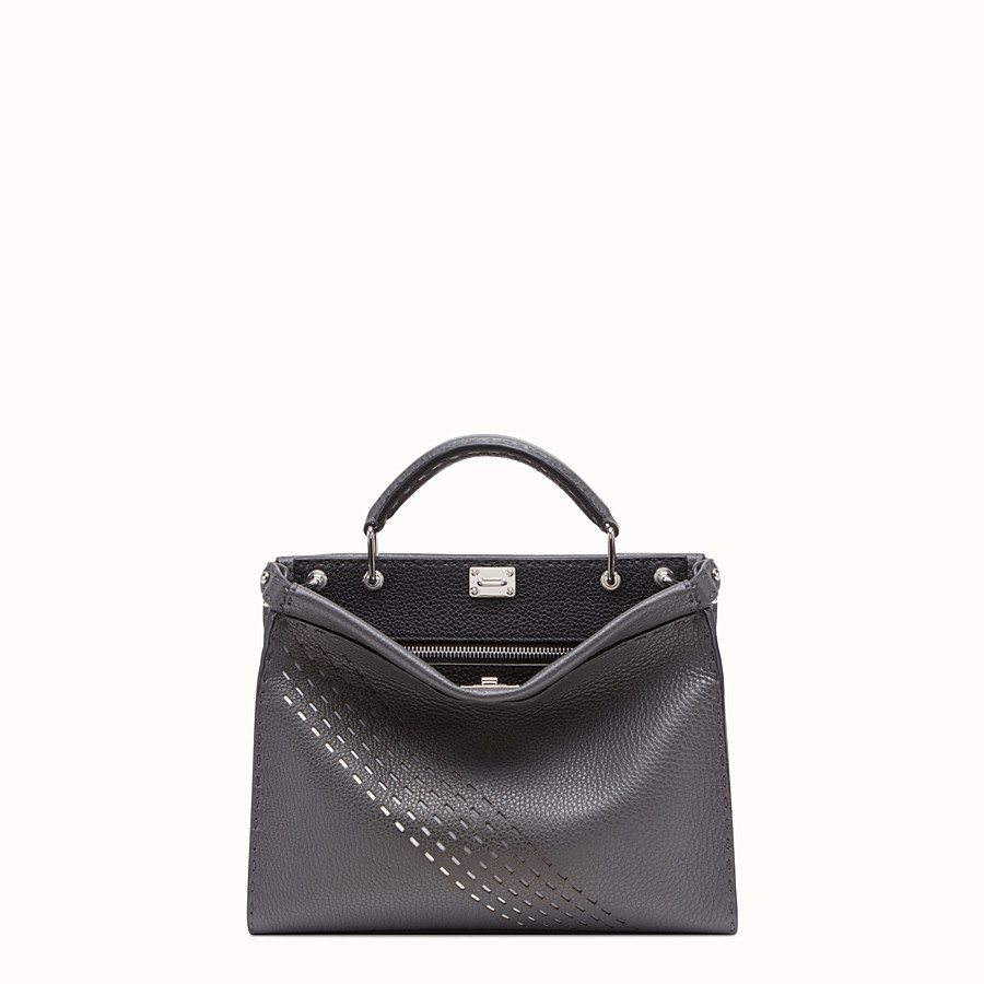FENDI PEEKABOO ICONIC FIT MINI - Grey calf leather bag - view 1 detail