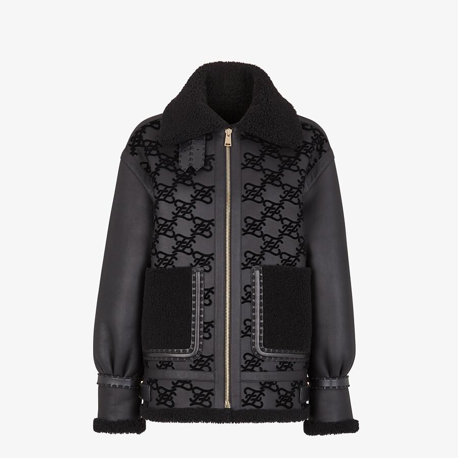 FENDI JACKET - Black shearling jacket - view 1 detail