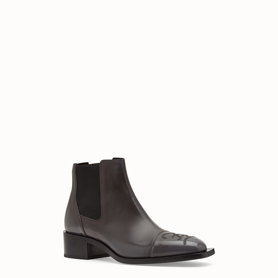 FENDI ANKLE BOOTS - Grey leather ankle boots - view 2 detail