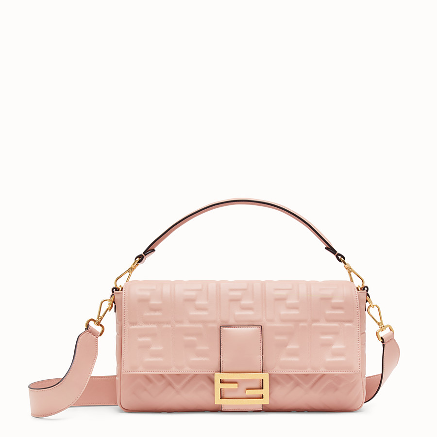 FENDI BAGUETTE LARGE - Pink nappa leather bag - view 1 detail