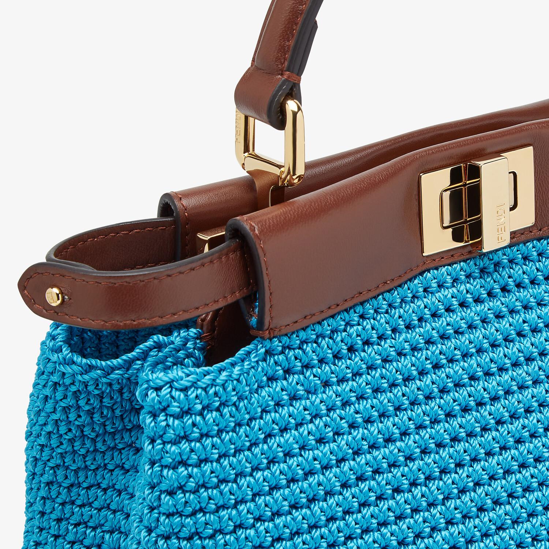 FENDI PEEKABOO MINI - Blue cotton crochet bag - view 5 detail