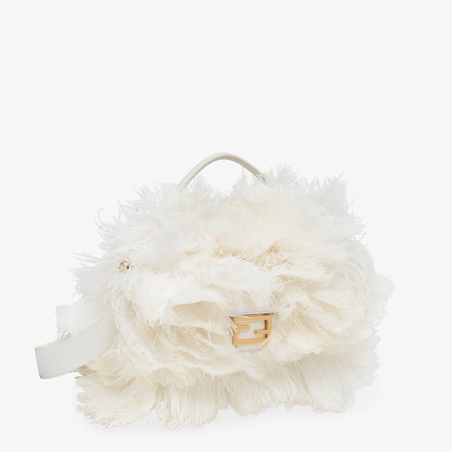 FENDI BAGUETTE - White nappa leather and feather bag - view 2 detail