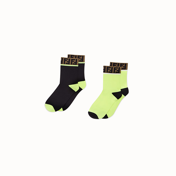 FENDI SOCKS - Pair of yellow and black cotton socks - view 1 small thumbnail