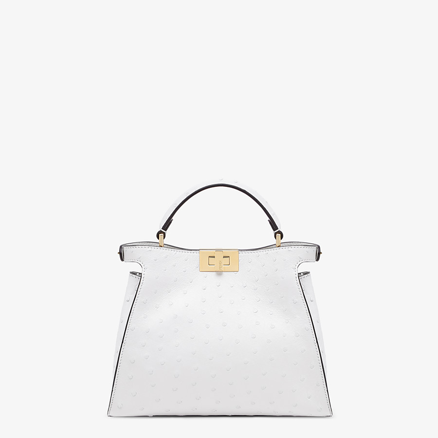 FENDI PEEKABOO ICONIC ESSENTIALLY - White ostrich leather bag - view 3 detail