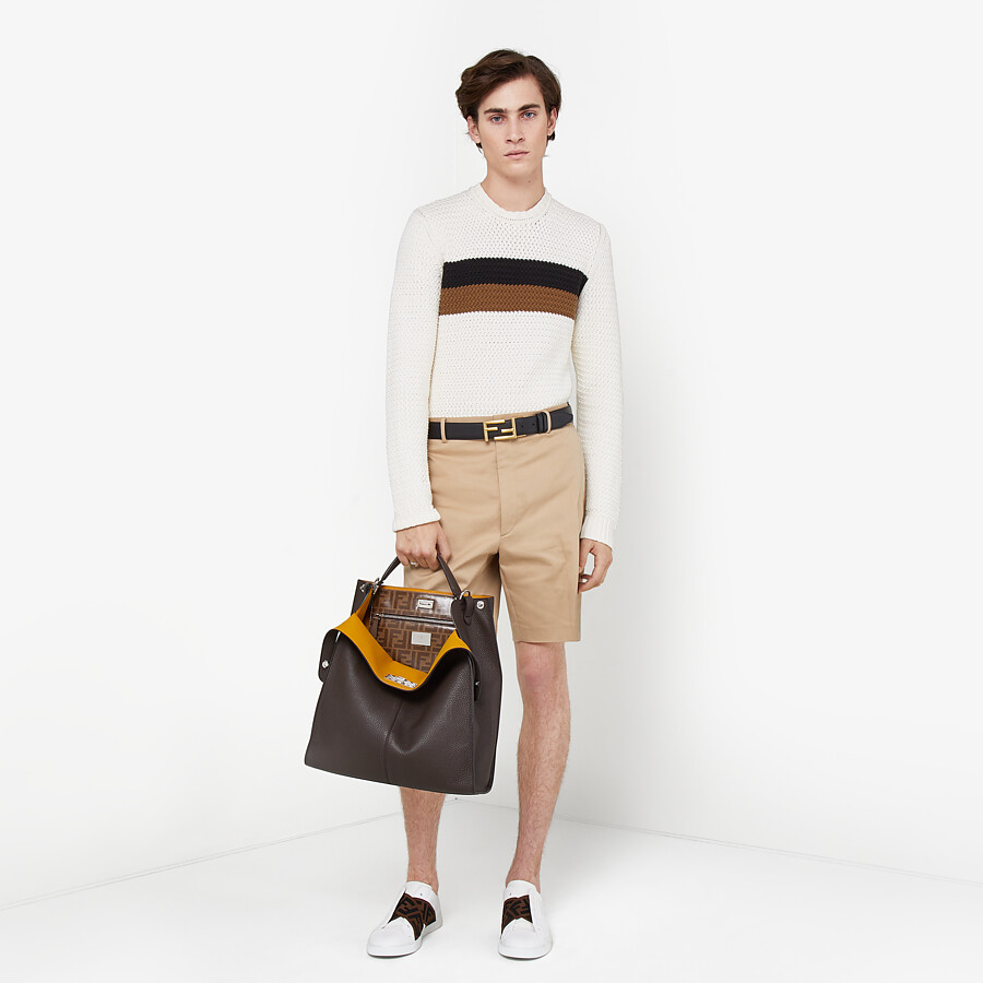 FENDI BELT - in Roman leather and black leather - view 5 detail