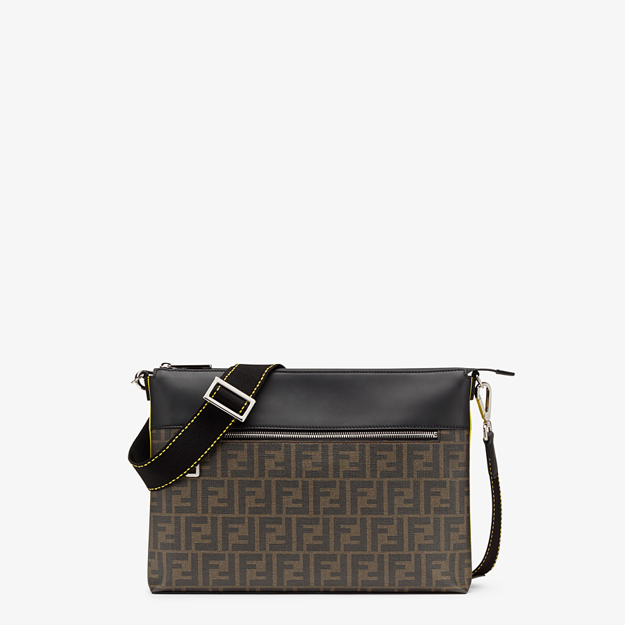 FENDI MESSENGER - Brown fabric slim pouch - view 1 detail