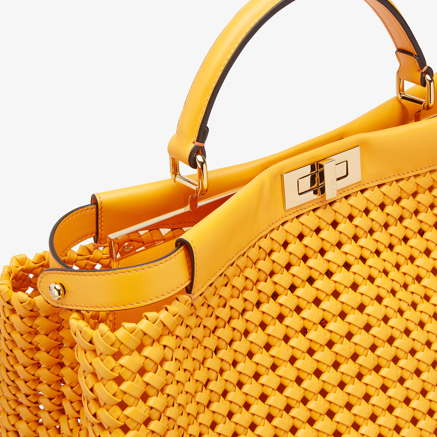 FENDI PEEKABOO ICONIC LARGE - Orange braided leather bag - view 5 detail