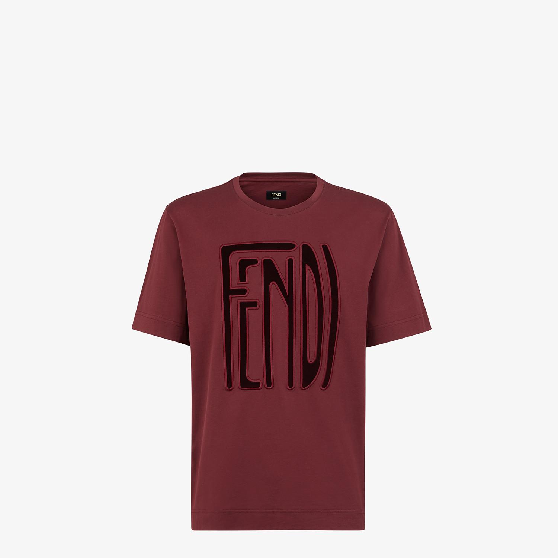 FENDI T-SHIRT - Burgundy cotton T-shirt - view 1 detail