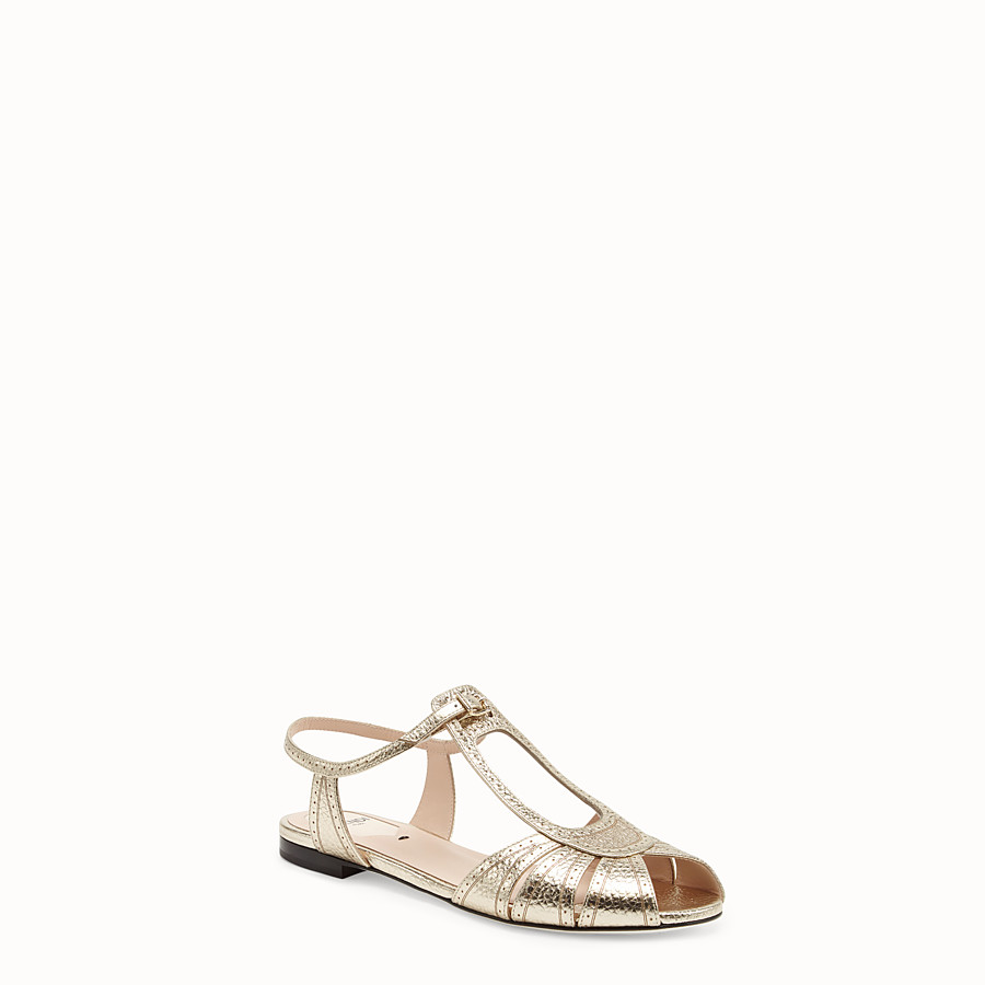 FENDI SANDALS - Golden leather flats - view 2 detail