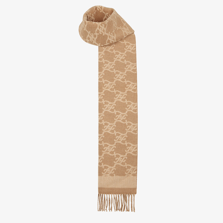 FENDI KARL SCARF - Beige wool and cashmere scarf - view 2 detail
