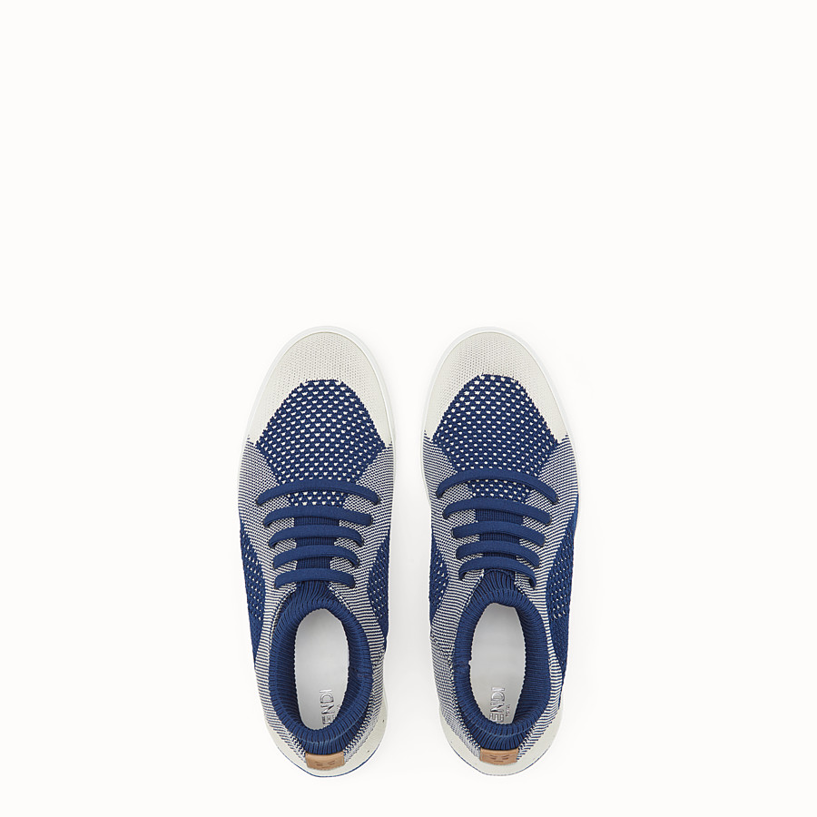 FENDI SNEAKERS - Blue and white knit slip-ons - view 4 detail