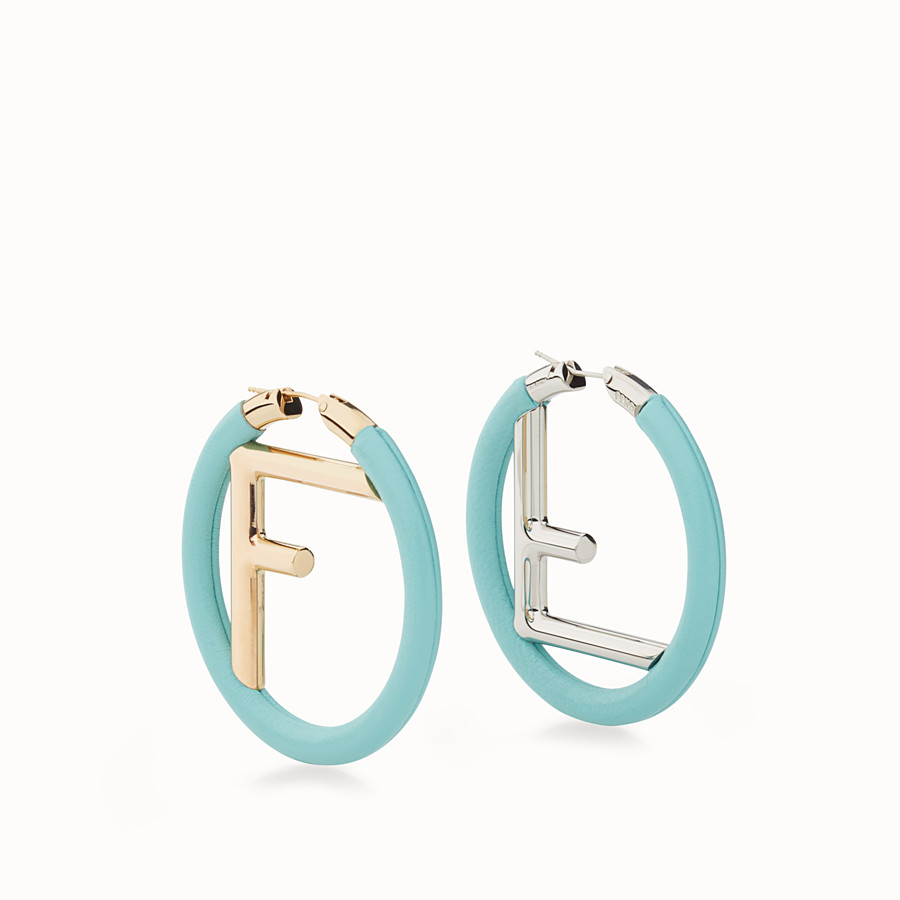 FENDI F IS FENDI EARRINGS - Green nappa leather earrings - view 1 detail