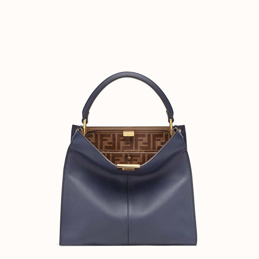 FENDI PEEKABOO X-LITE MEDIUM - Blue leather bag - view 2 detail