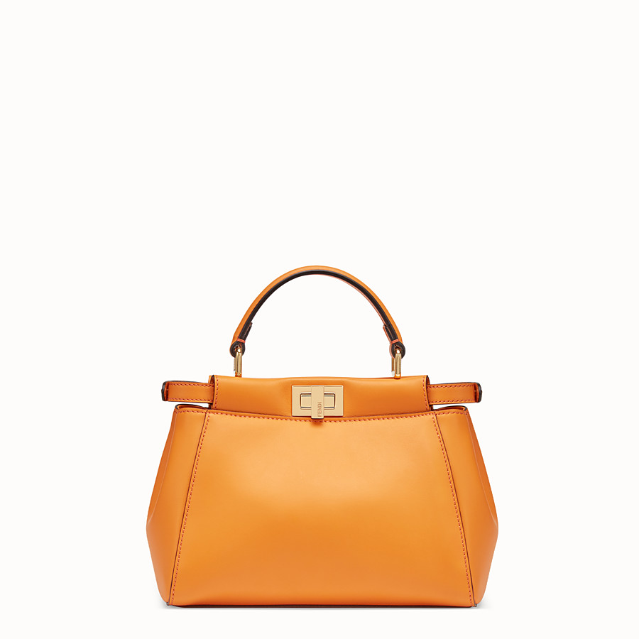 FENDI PEEKABOO MINI POCKET - Orange leather bag - view 3 detail