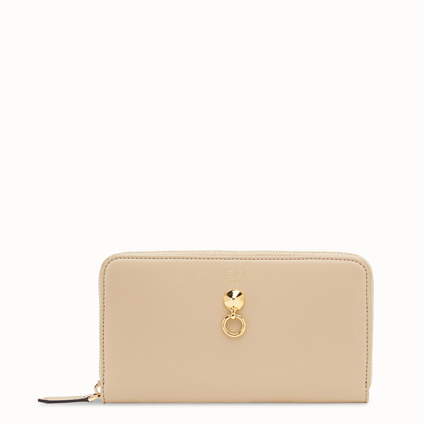 FENDI ZIP-AROUND - Beige leather wallet - view 1 small thumbnail