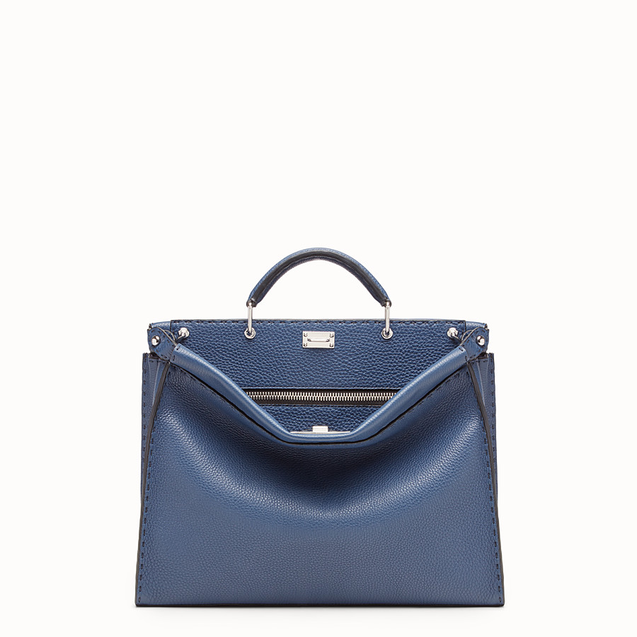 FENDI PEEKABOO FIT - Tasche aus Leder in Blau - view 1 detail