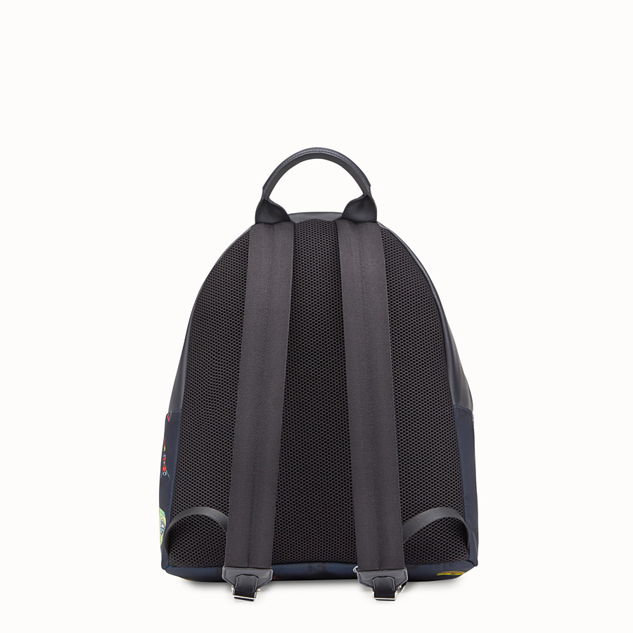 FENDI BACKPACK - Blue fabric and leather backpack - view 3 detail