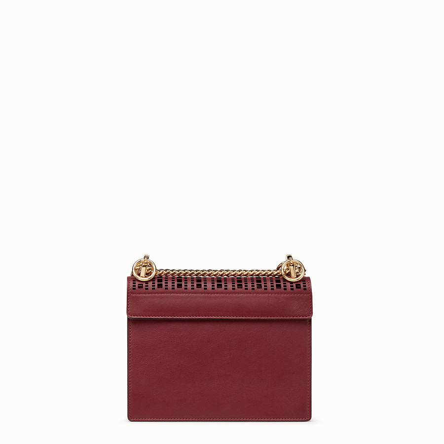 FENDI KAN I SMALL - Maroon leather mini-bag - view 3 detail