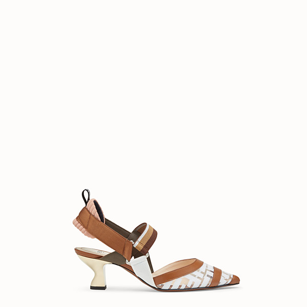 FENDI SLINGBACK - Colibrì in PU and white leather - view 1 small thumbnail