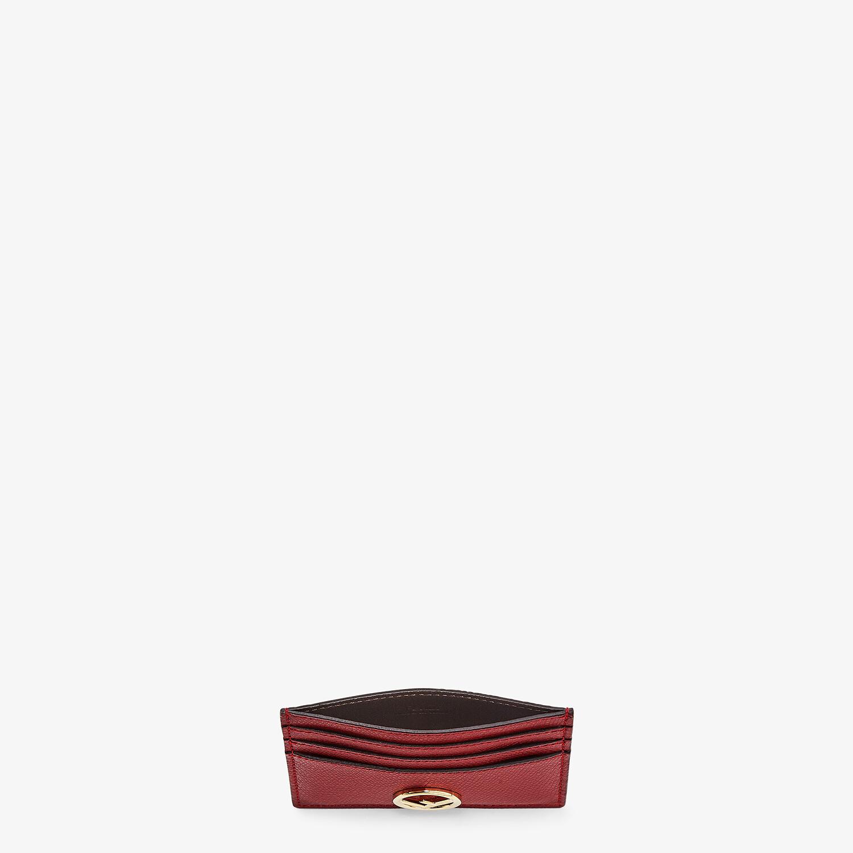 FENDI CARD CASE - Burgundy leather flat card holder - view 3 detail