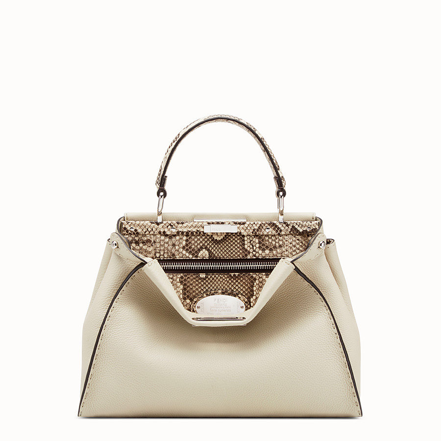FENDI PEEKABOO REGULAR - White leather bag with exotic details - view 1 detail