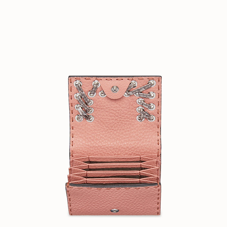 FENDI CARD HOLDER - Pink leather card-holder with exotic details - view 4 detail