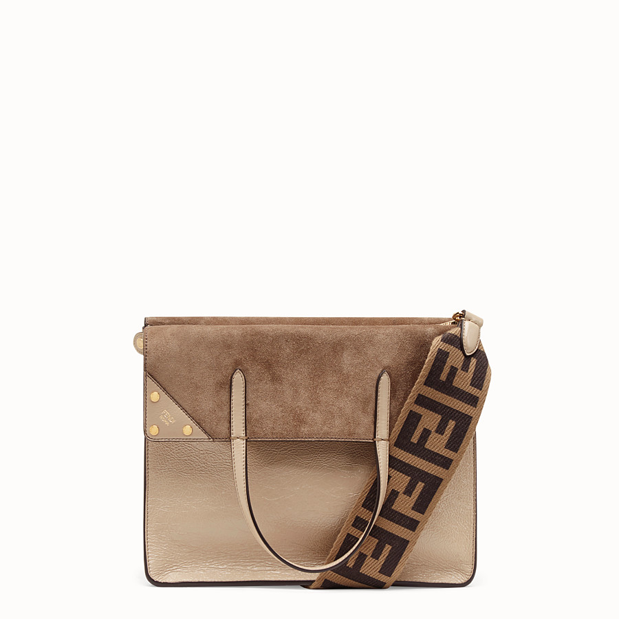 FENDI FENDI FLIP LARGE - Beige leather bag - view 1 detail
