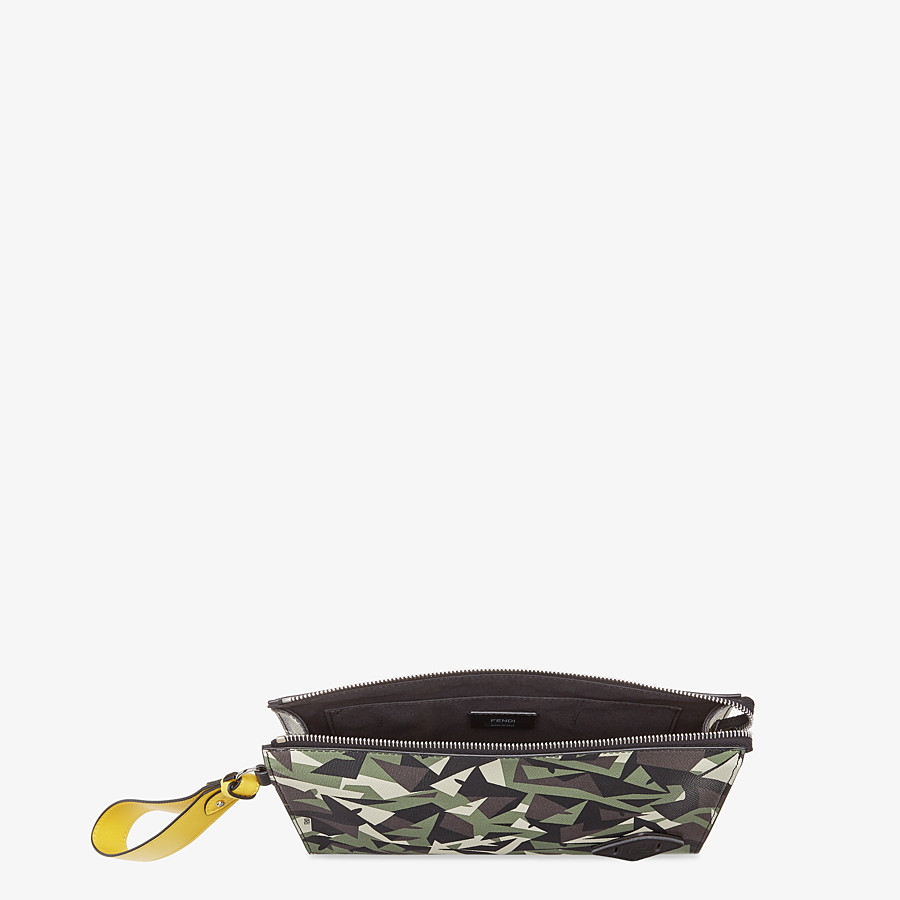 FENDI FLAT POUCH - Green leather pouch - view 4 detail