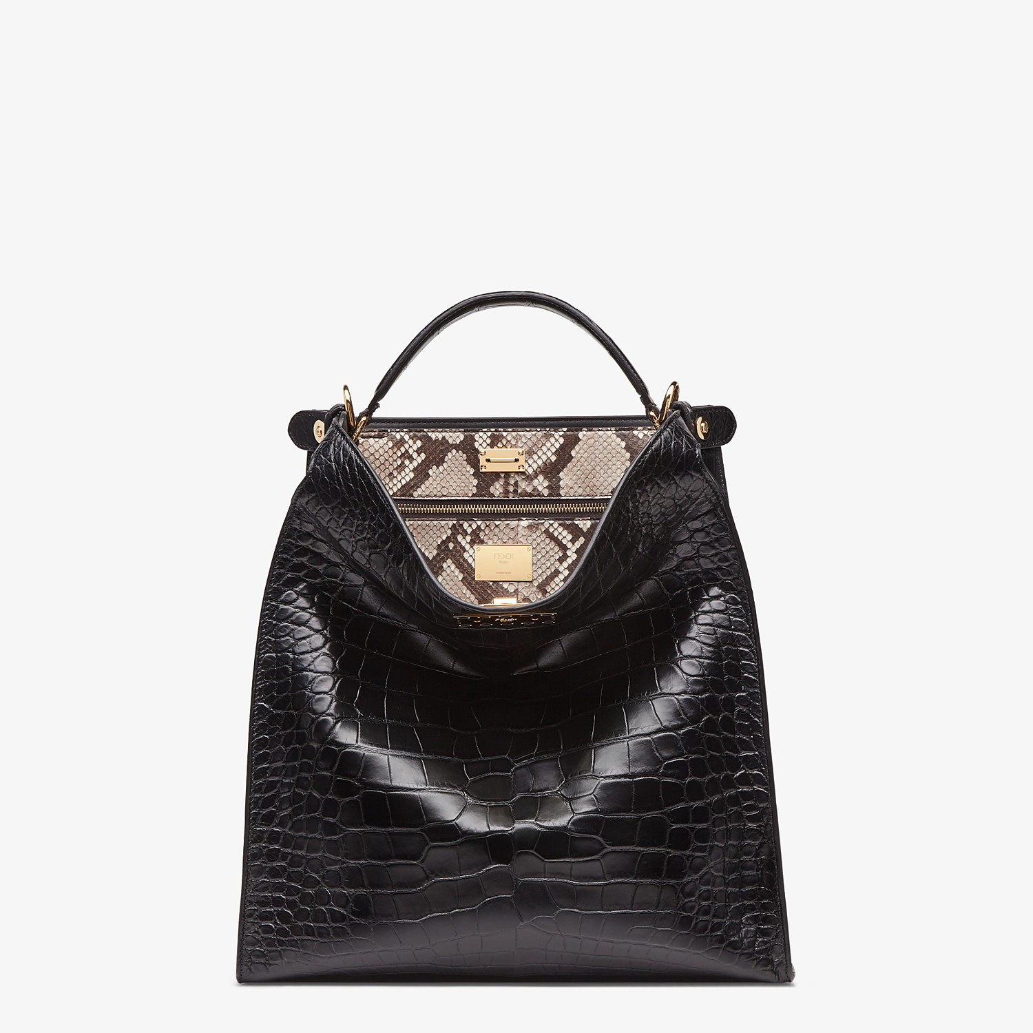 FENDI PEEKABOO X-LITE FIT - Black alligator leather bag - view 2 detail
