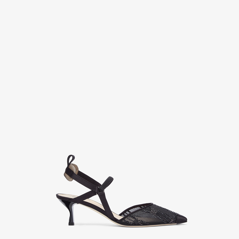 FENDI COLIBRÌ - Medium heel slingbacks in black mesh with rhinestone embroidery - view 1 detail