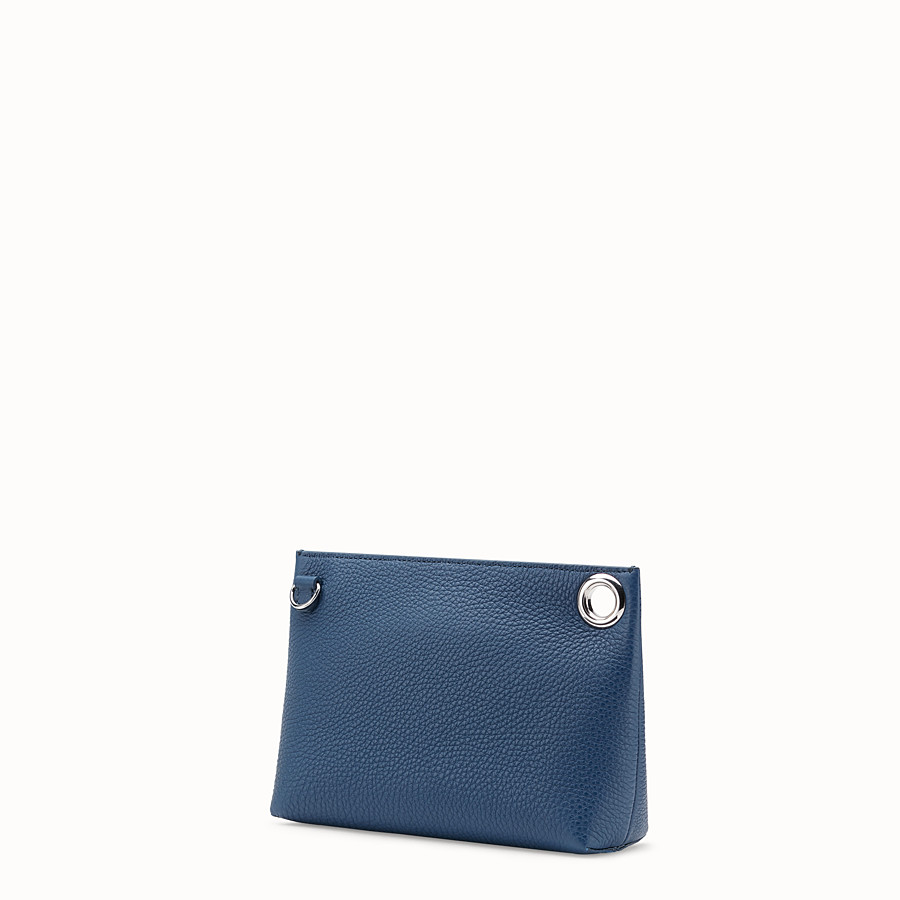 FENDI MEDIUM PYRAMID POUCH - Blue leather pouch - view 2 detail