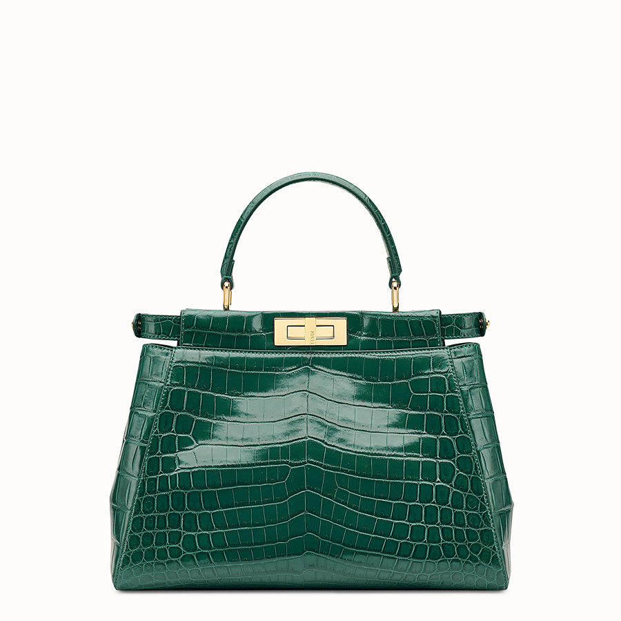 FENDI PEEKABOO REGULAR - Emerald green crocodile leather handbag. - view 3 detail