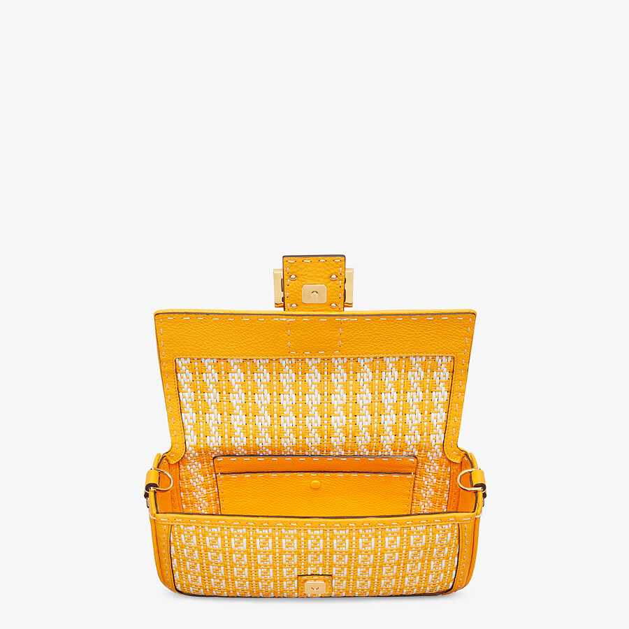 FENDI BAGUETTE - Tasche aus geflochtenem Leder in Orange und Weiß - view 4 detail