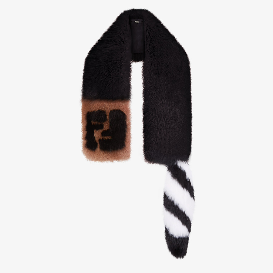 FENDI TALE SCARF - Black fox fur collar - view 2 detail