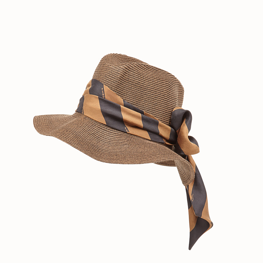 FENDI PACKABLE HAT - Brown straw hat - view 1 detail