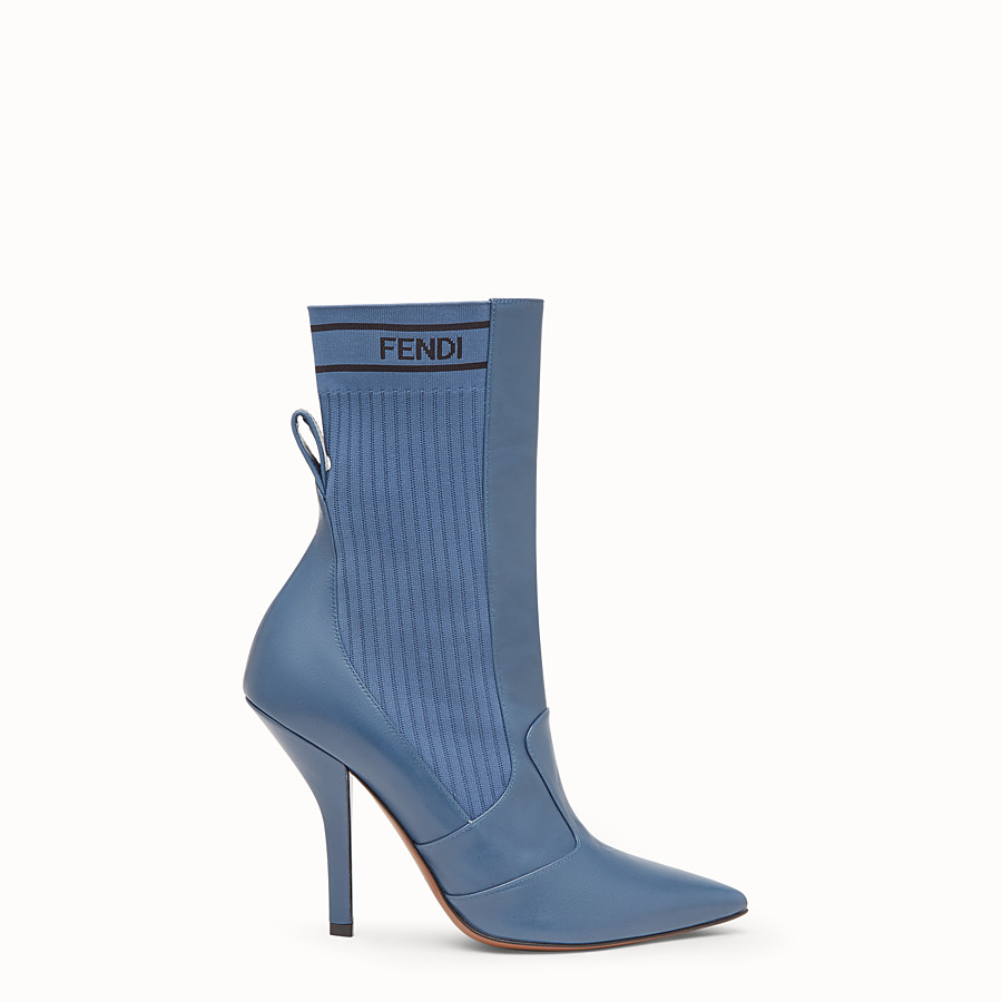 FENDI BOOTS - Blue leather booties - view 1 detail