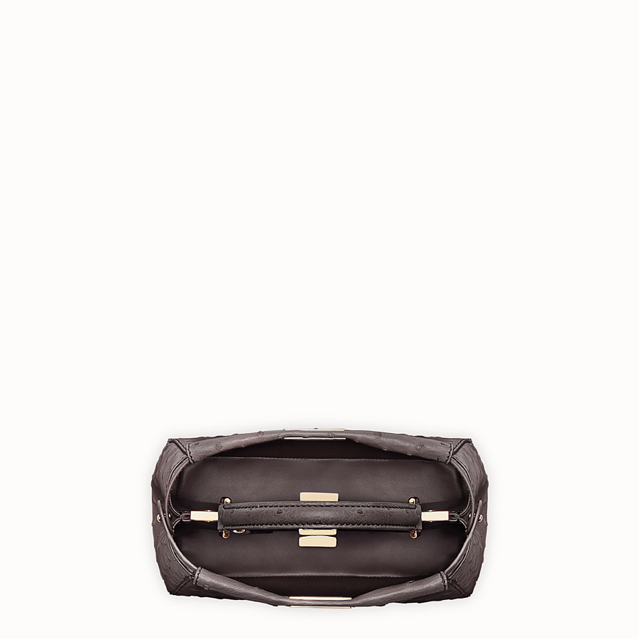FENDI PEEKABOO MINI - Brown ostrich leather handbag. - view 4 detail