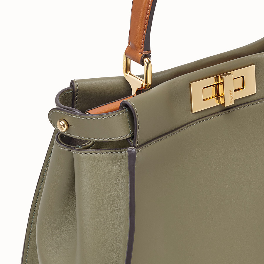 FENDI PEEKABOO REGULAR - Green leather bag - view 7 detail