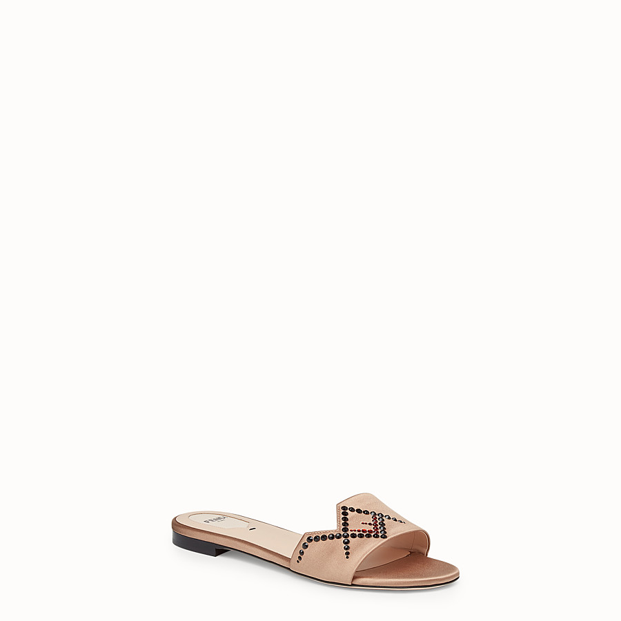 FENDI SLIDES - Beige satin slides - view 2 detail