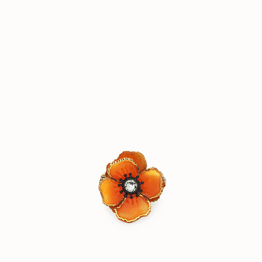 FENDI FLOWERS EARRINGS - Orange enamel earring - view 2 detail