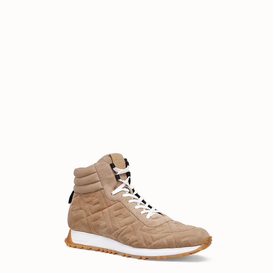 FENDI SNEAKERS - Beige suede high-tops - view 2 detail