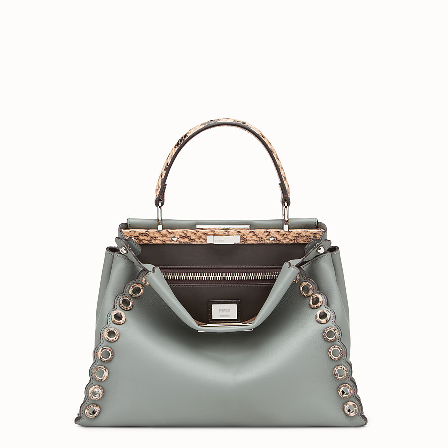 FENDI PEEKABOO REGULAR - Green leather bag with exotic details - view 1 detail