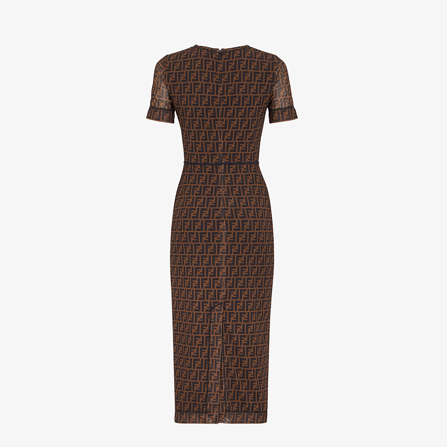 FENDI DRESS - Brown micro mesh dress - view 2 detail