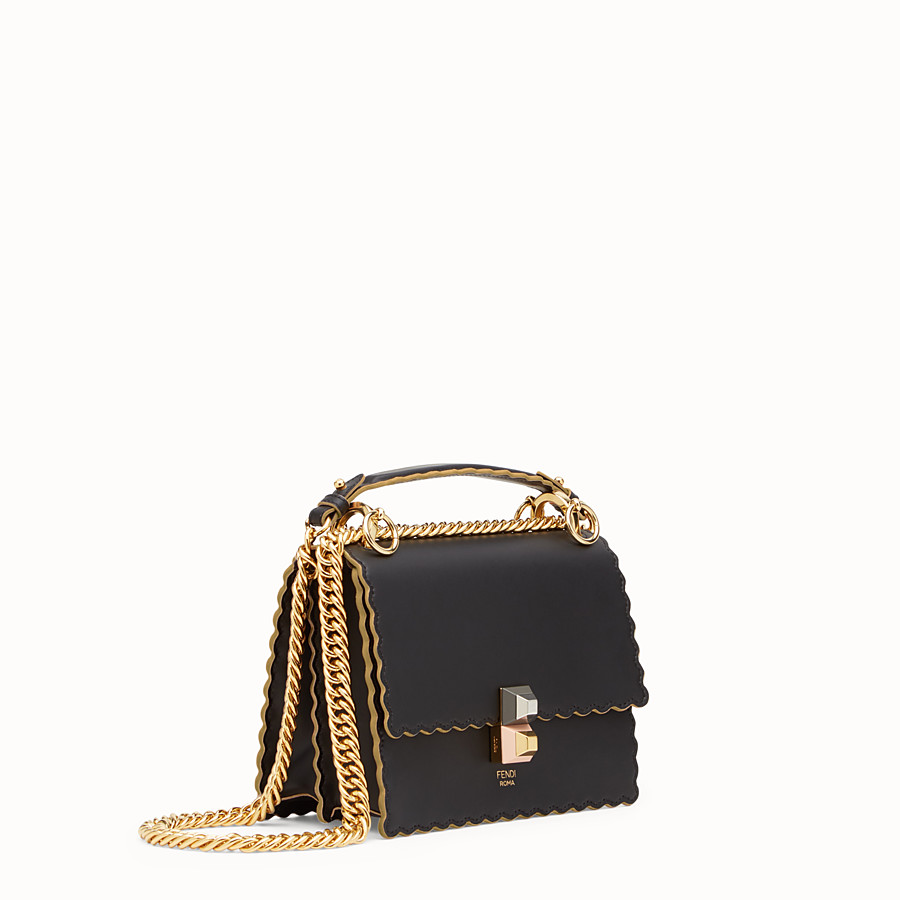 FENDI KAN I SMALL - Mini-sac en cuir noir - view 2 detail