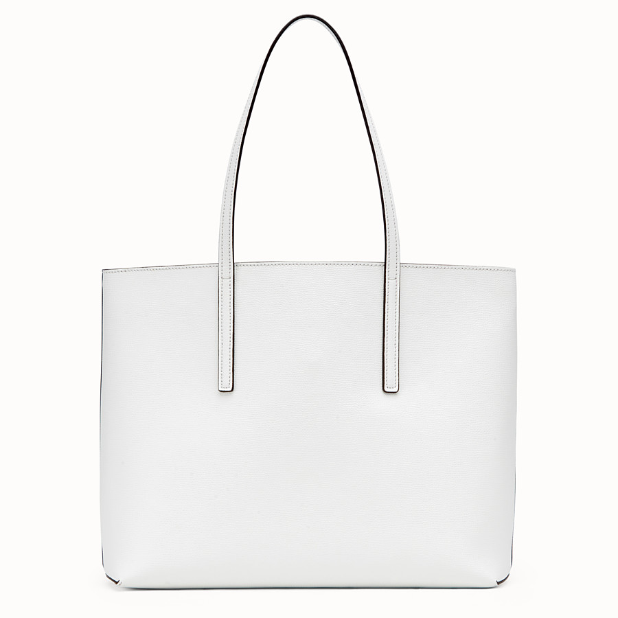 FENDI SHOPPING LOGO - White leather shopper bag - view 3 detail