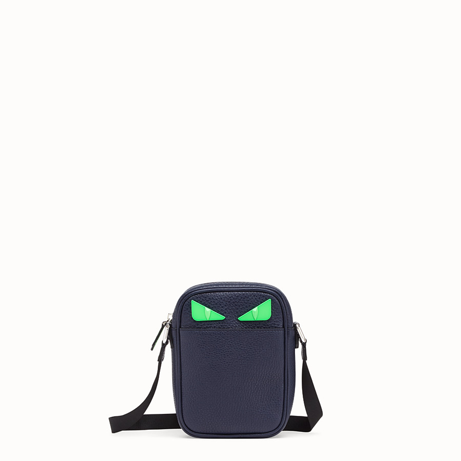 FENDI SMALL MESSENGER - Cross-body in blue Romano leather - view 1 detail