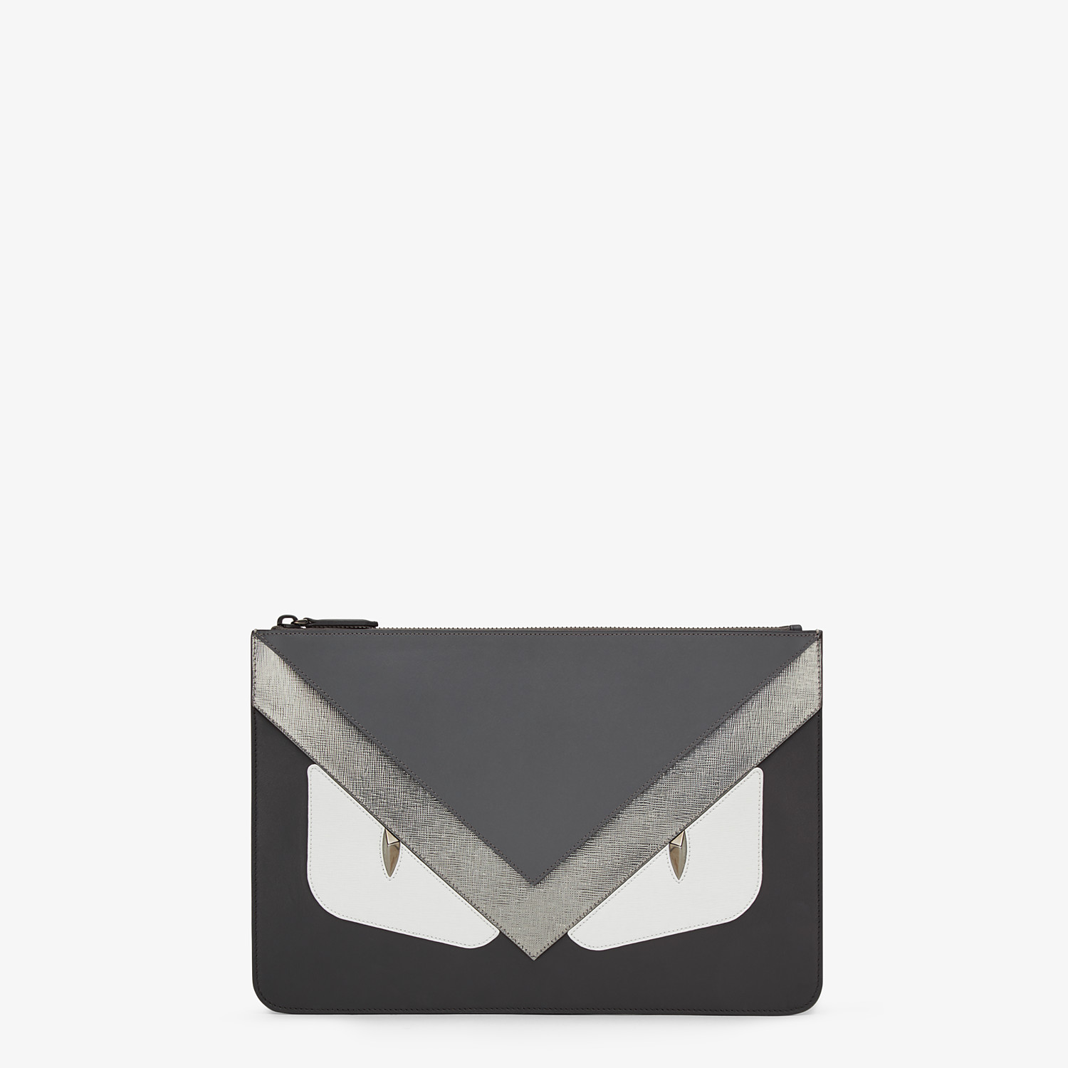 FENDI POUCH - in black Roman leather with insert - view 1 detail