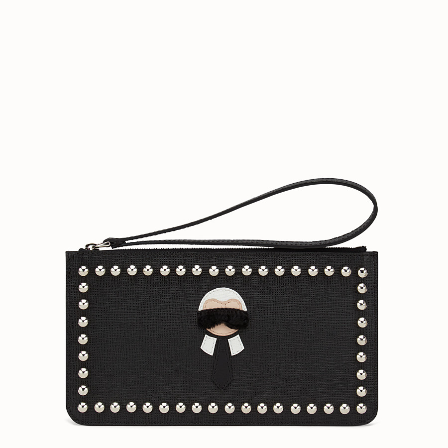 FENDI KARLITO FLAT POUCH - in black leather with inlay - view 1 detail