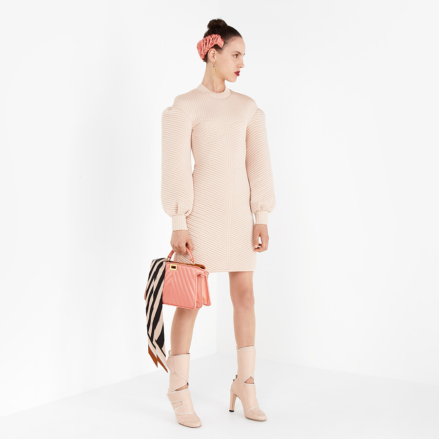 FENDI DRESS - Pink quilted fabric dress - view 4 detail
