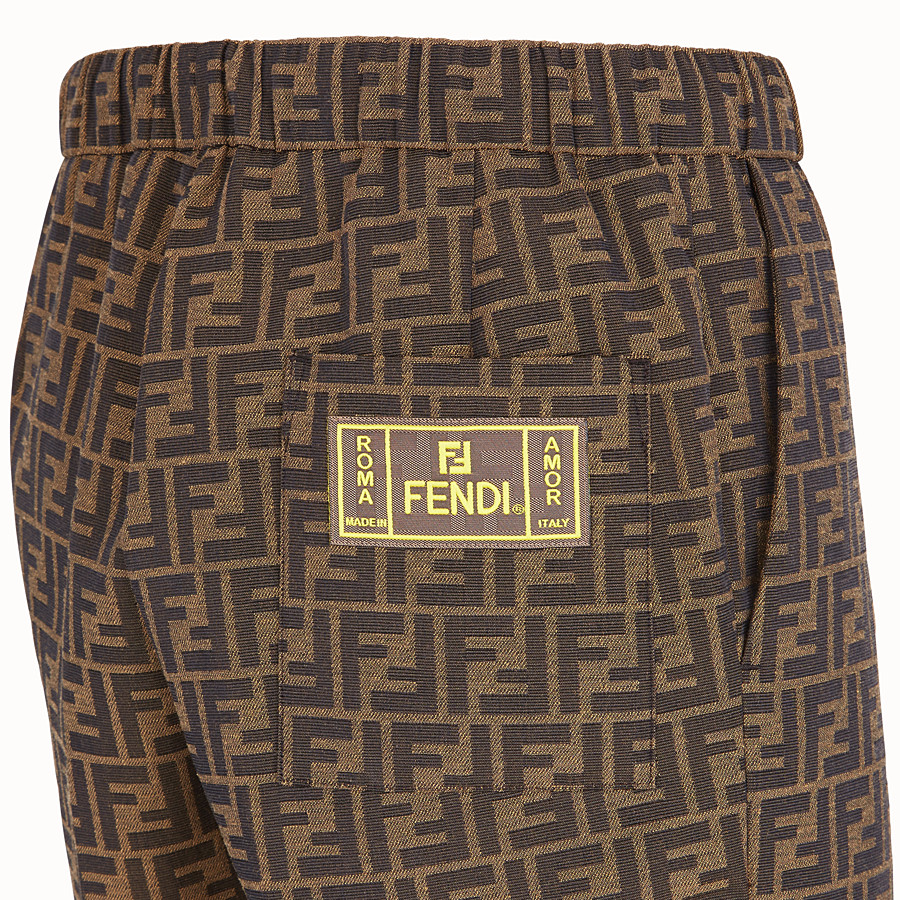 FENDI TROUSERS - Brown fabric trousers - view 3 detail